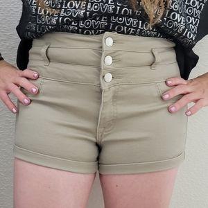 Refuge Khaki High Waist Shorts